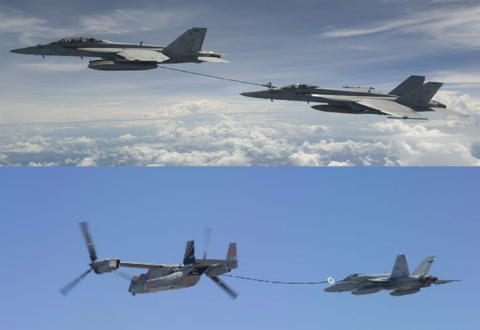 F-18s Super Hornets 'buddy refueling' and V-22 Osprey aerial tanker feasibility tests.