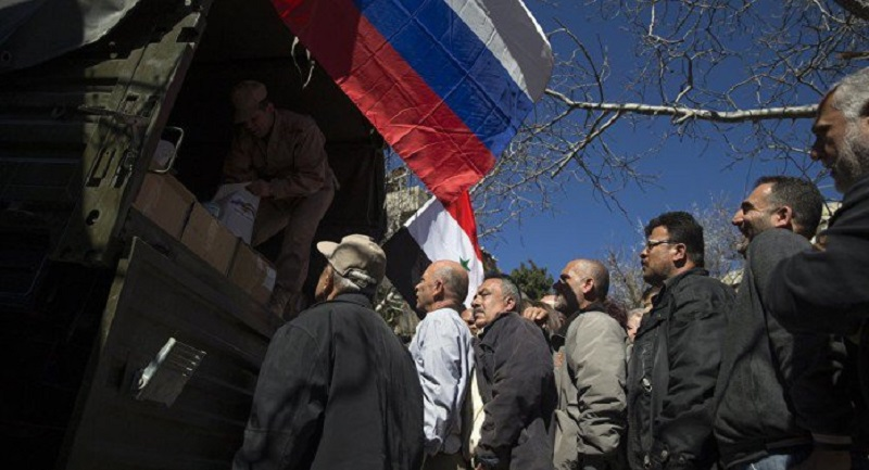 Russian soldier killed by roadside bomb while distributing aid in Syria
