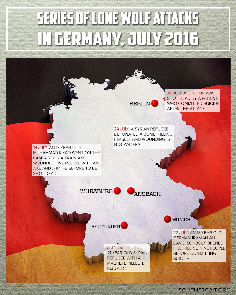 Series of Lone Wolf Attacks in Germany (Map)
