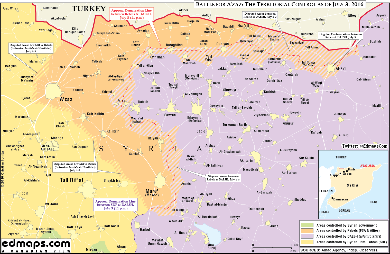 Military Situation in Northern Syria on July 3