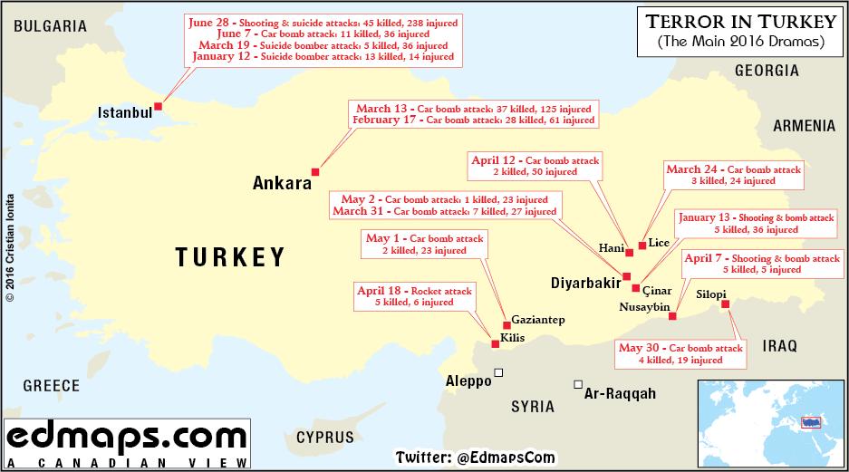 turkey map of major terrorist attacks in 2016