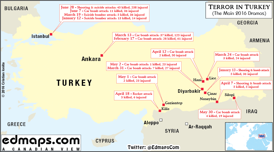 Turkey: Map of Major Terrorist Attacks in 2016