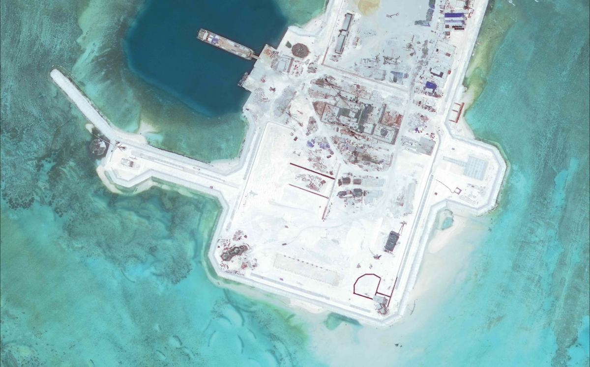 Cuarteron Reef in March 2016. Photo: Asia Maritime Transparency Initiative and Digital Globe