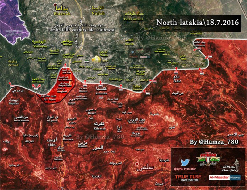 Syrian Army advances in thei Turkmen Mountains of Latakia: map