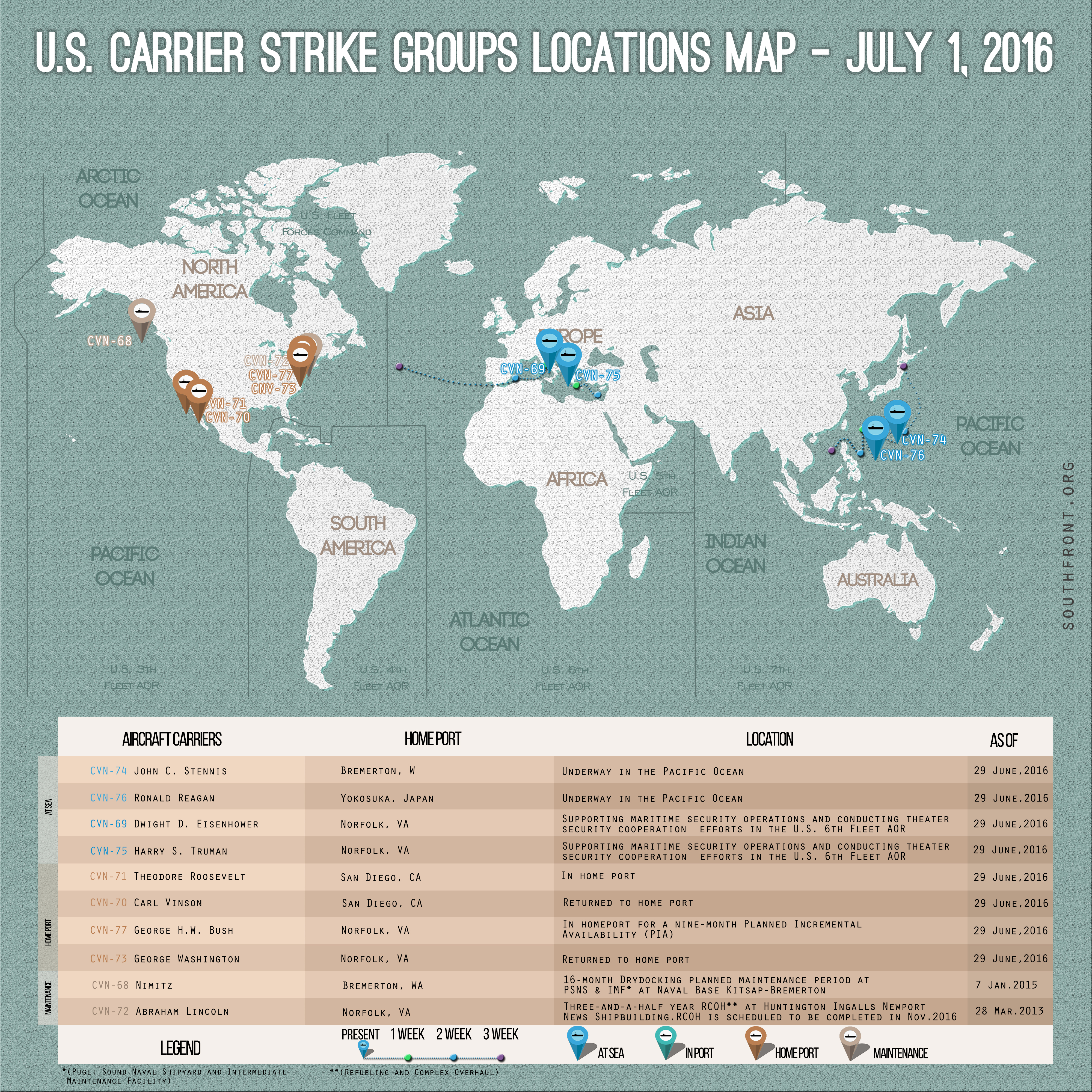 US Carrier Strike Groups Locations Map – July 1, 2016