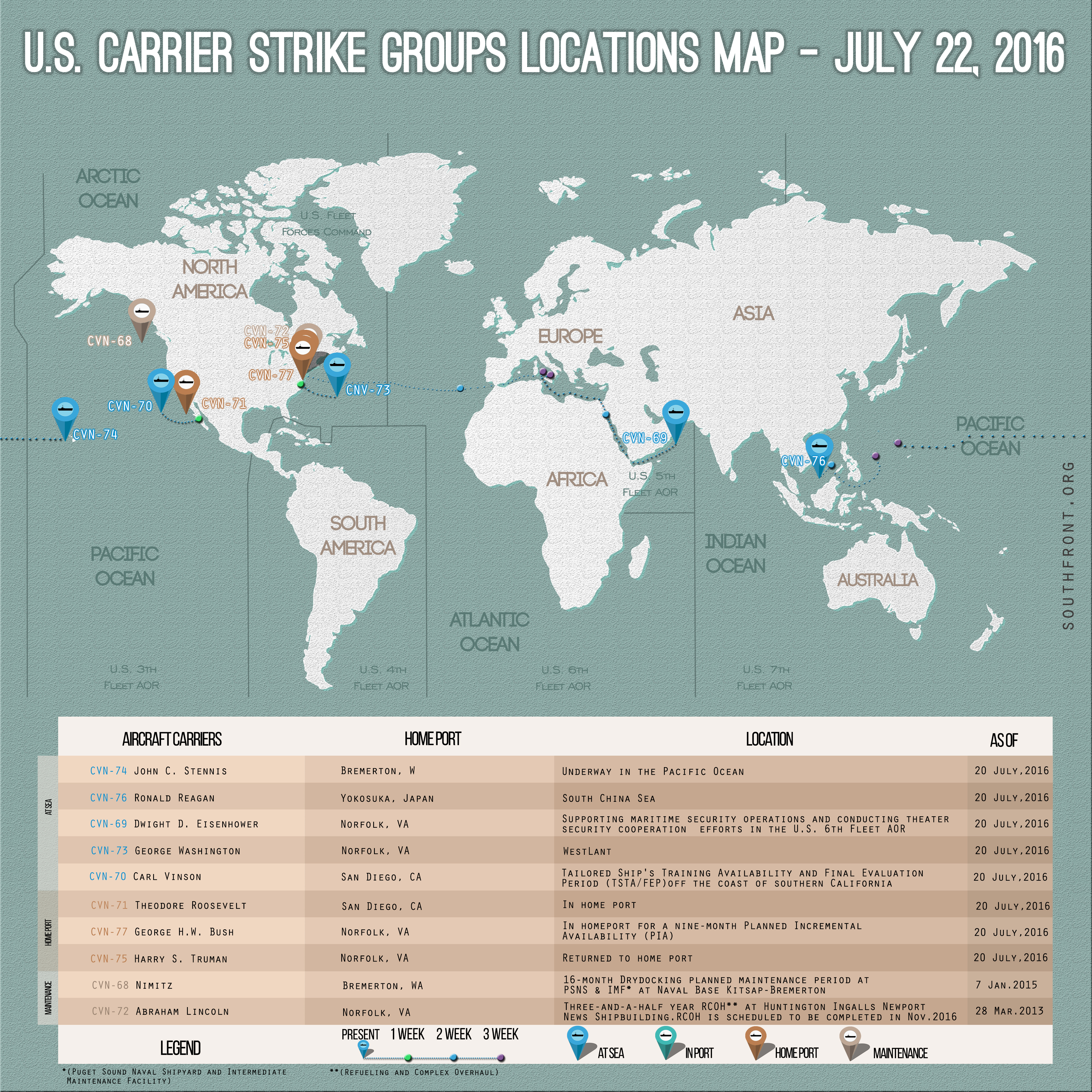 US Carrier Strike Groups Locations Map – July 22, 2016