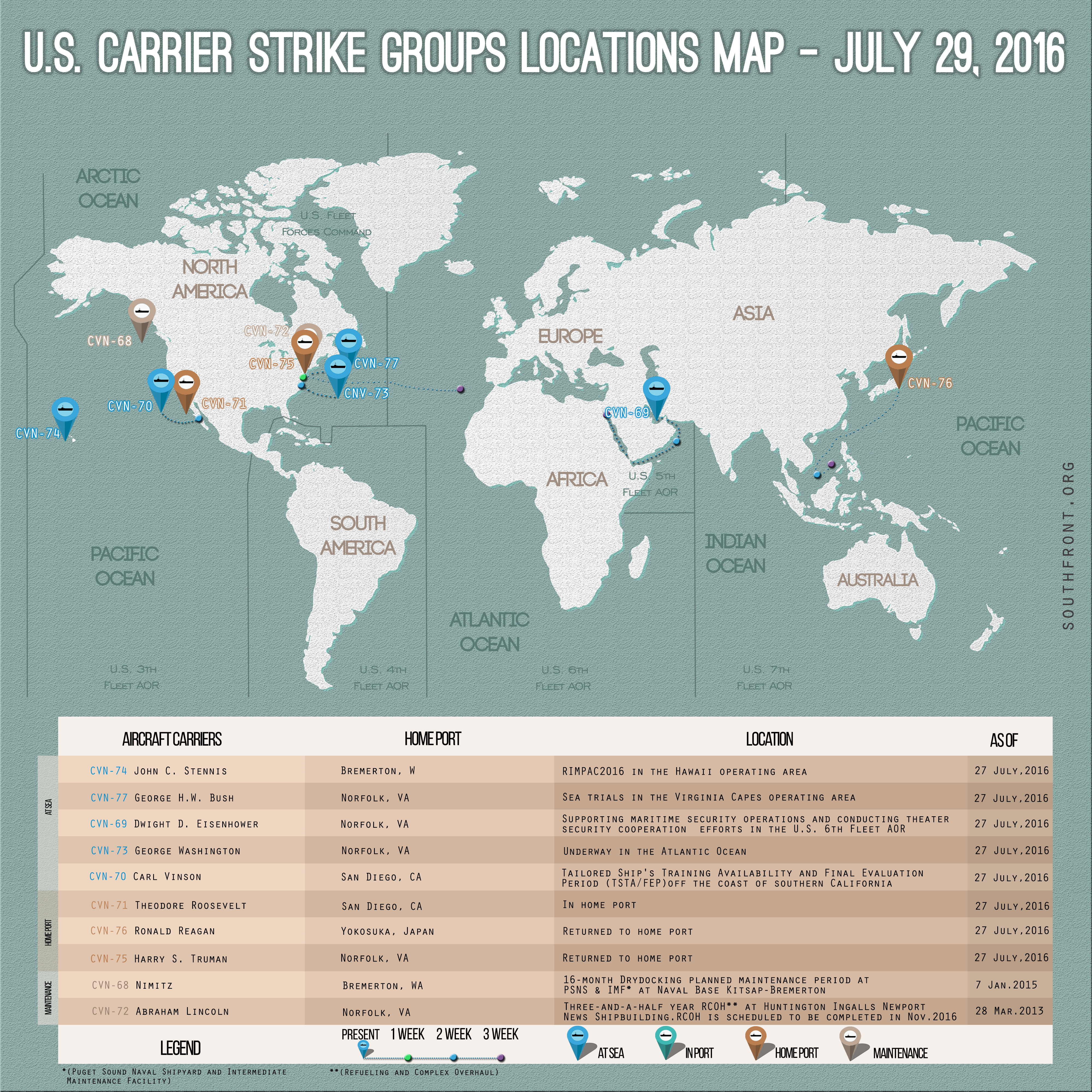 US Carrier Strike Groups Locations Map – July 29, 2016