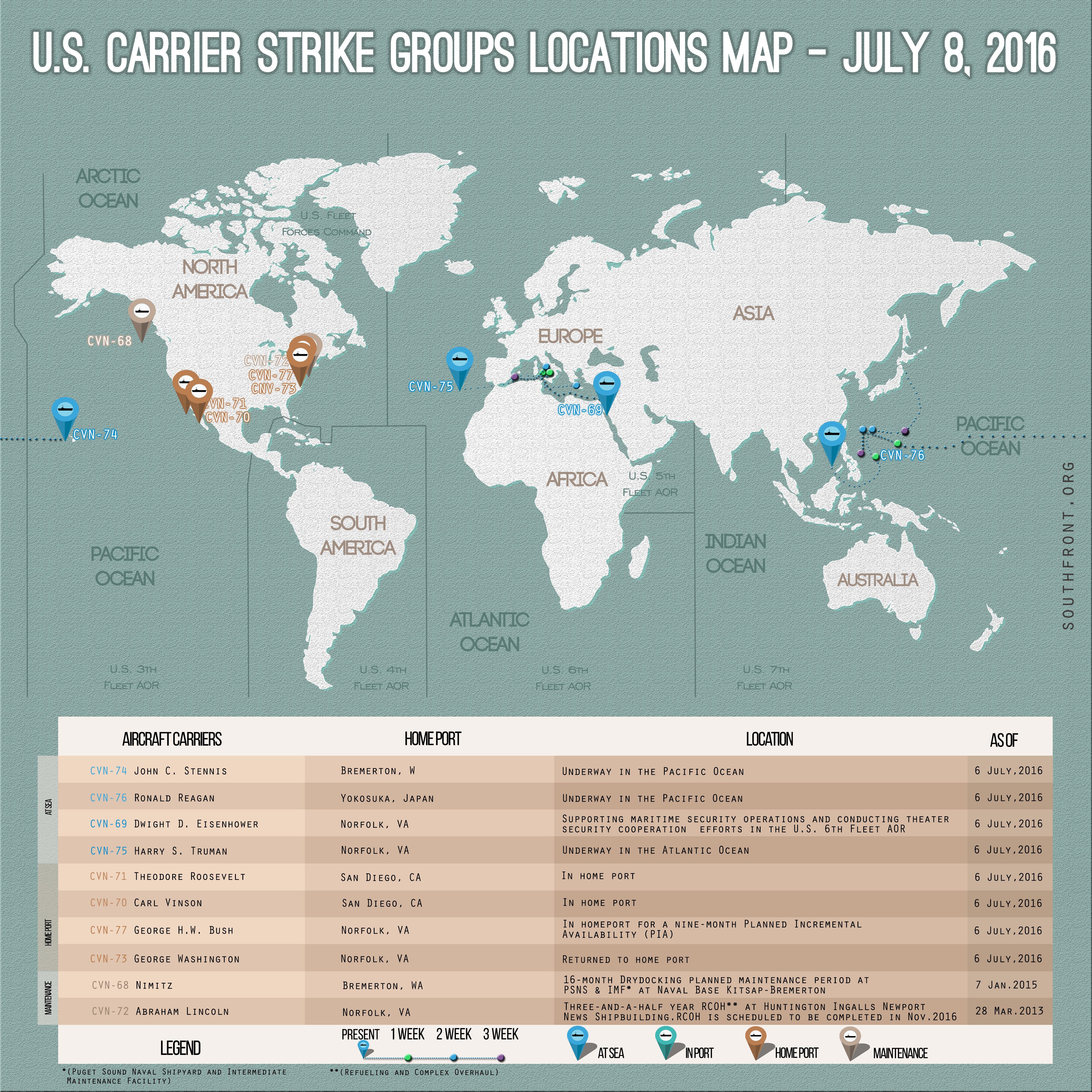 US Carrier Strike Groups Locations Map – July 8, 2016