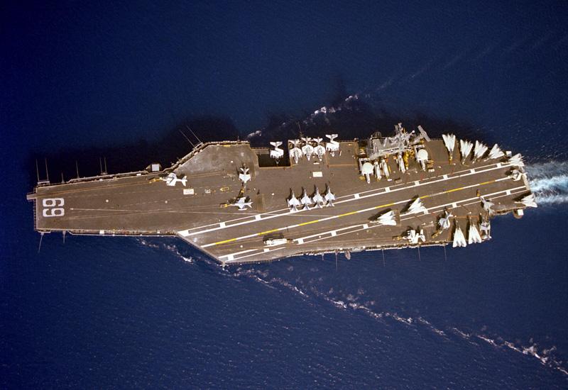 Aircraft carrier deck top view