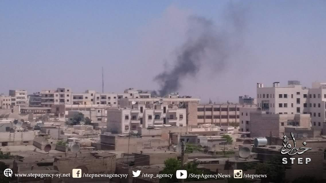 Syrian and Russian Warplanes Deliver Air Strikes in Provinces of Idlib, Aleppo and Homs