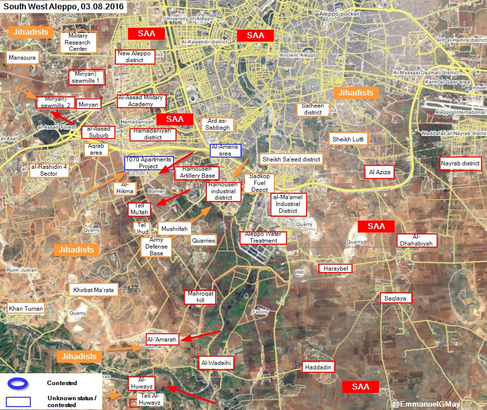 Military Situation in Aleppo City on August 3, 2016