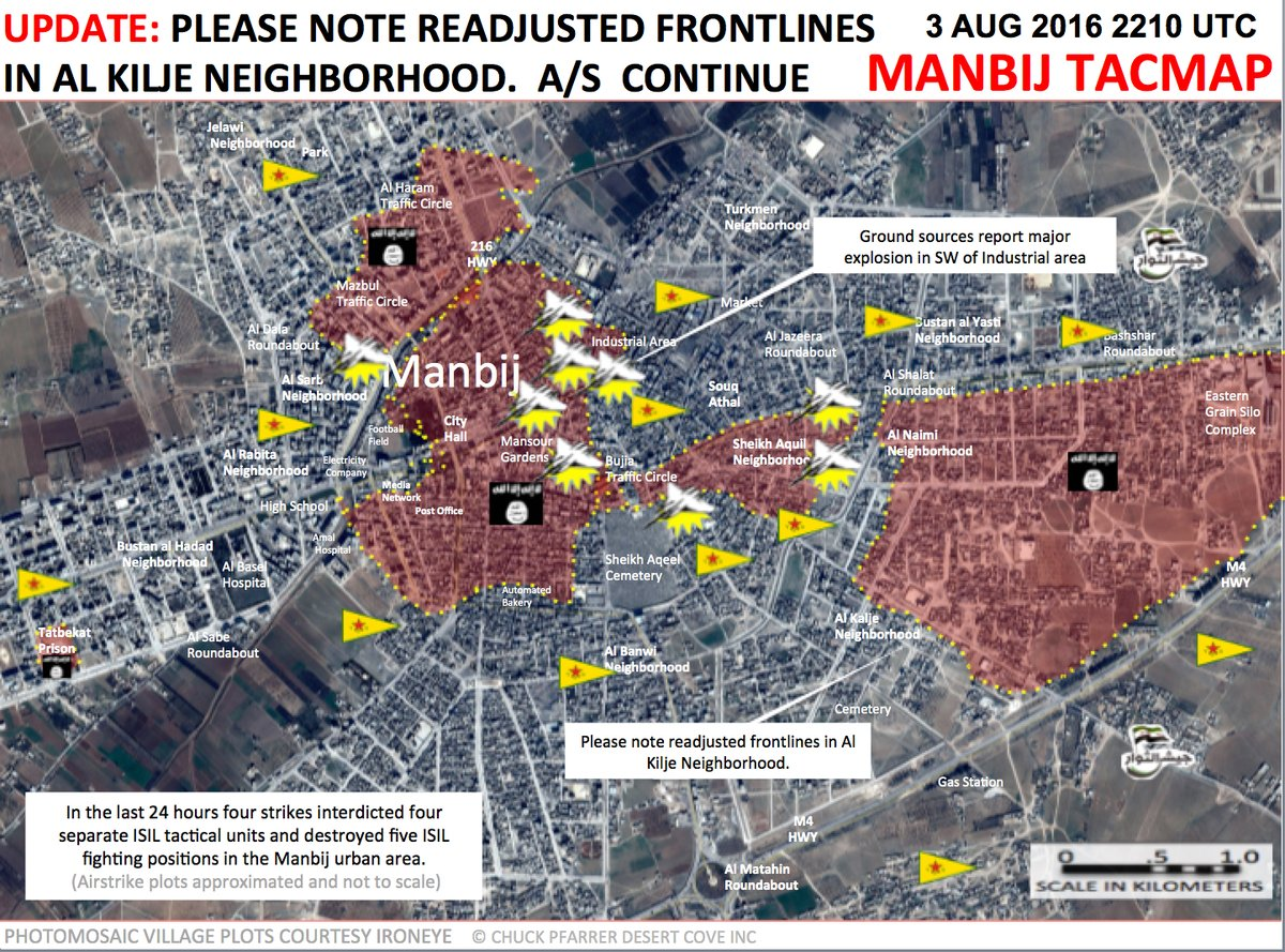 Kurdish Forces Split ISIS-Controlled Area in Manbij Into Three Parts