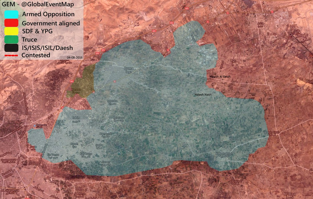 Military Situation in Eastern Ghouta, Syria on August 5