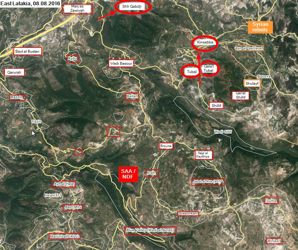 Military Situation in Northern Latakia on August 8