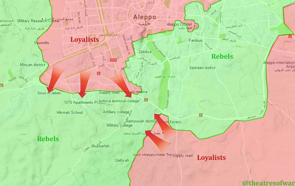 Syrian Army Advancing from 4 Directions in Aleppo City