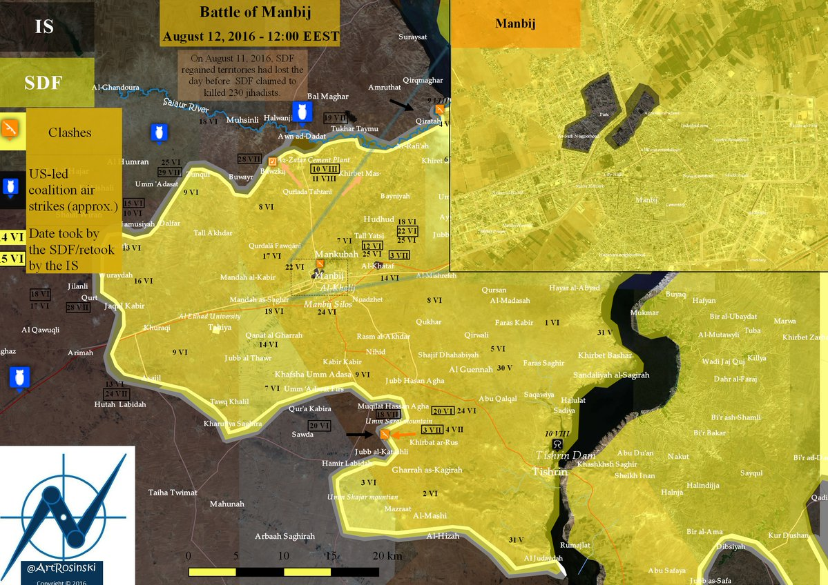 Military Situation in Manbij, Syria on August 12