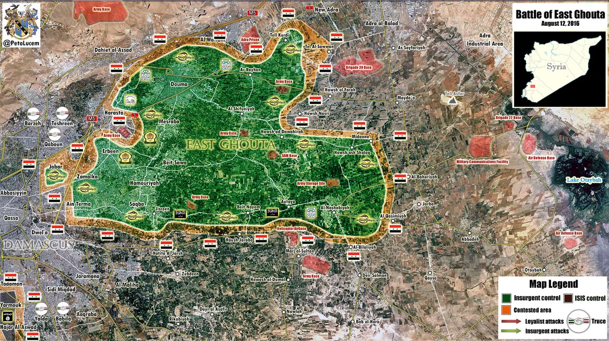 Military Situation in East Ghouta Region, Syria on August 12