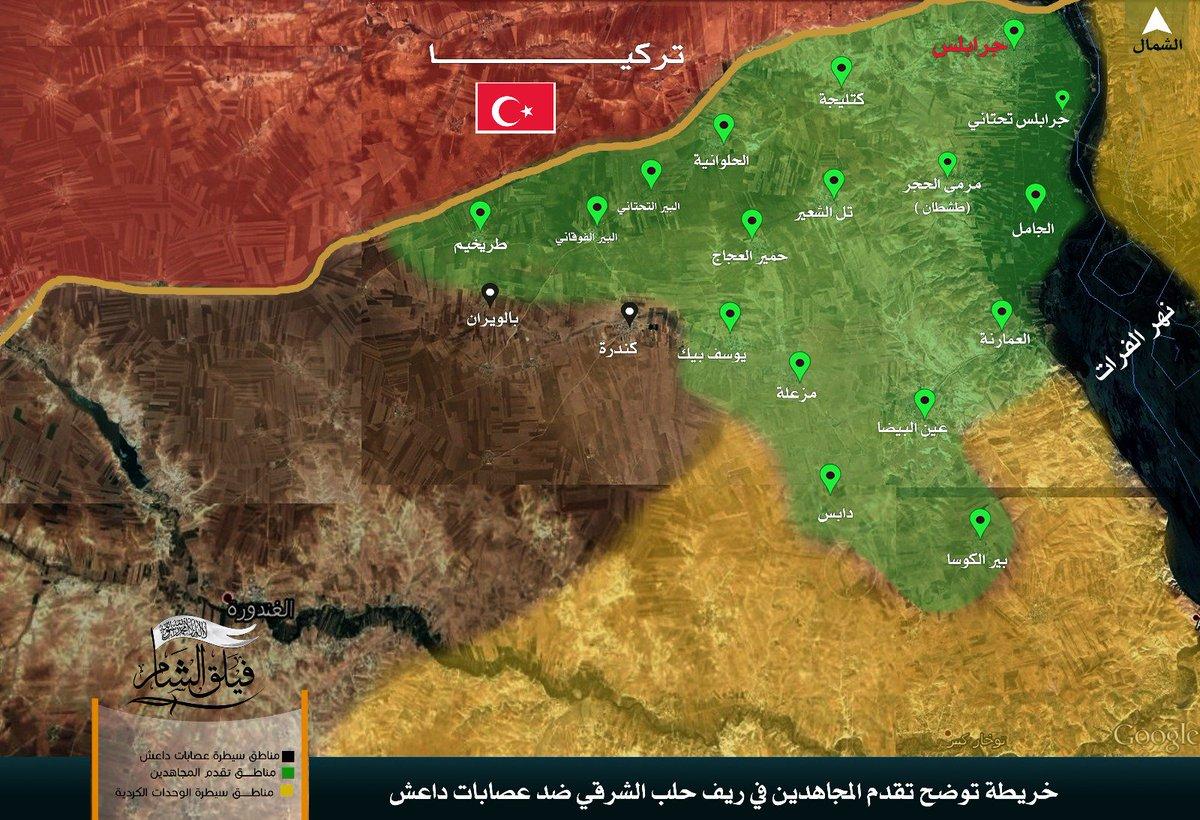Turkey-led Forces Advancing Southwest of Jarablus