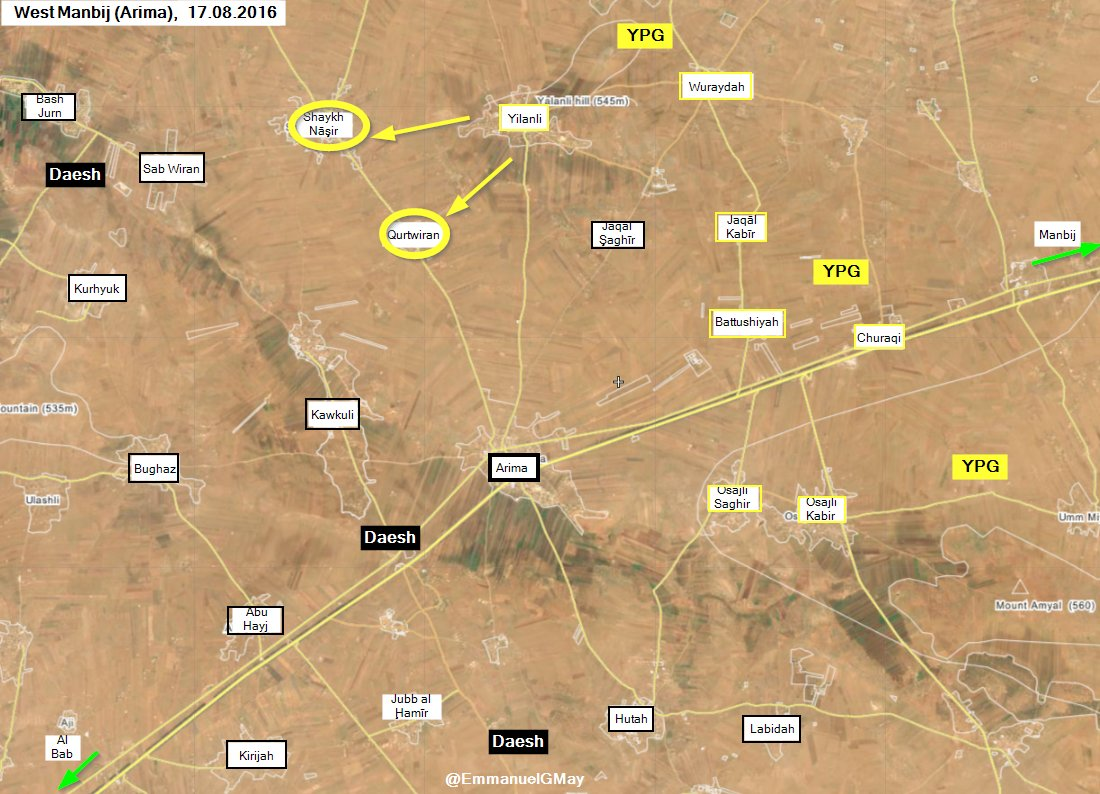 Syrian Democratic Forces Seize 2 more Villages from ISIS West of Manbij