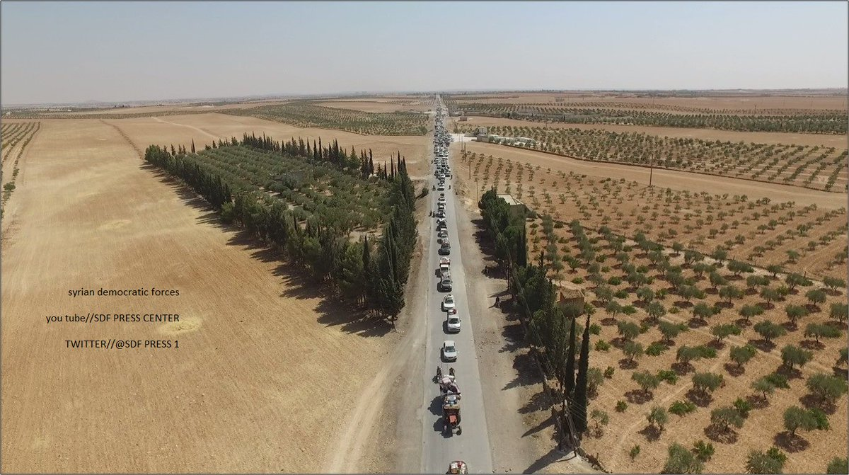 SDF Released Photos of ISIS Column Heading from Manbij