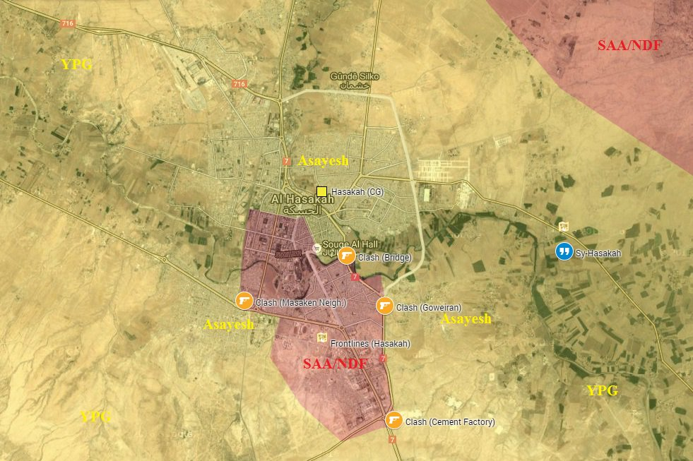 Military Situation in Hasakah: Clashes between PYD-Linked Kurdish Forces and Government Forces Ongoing