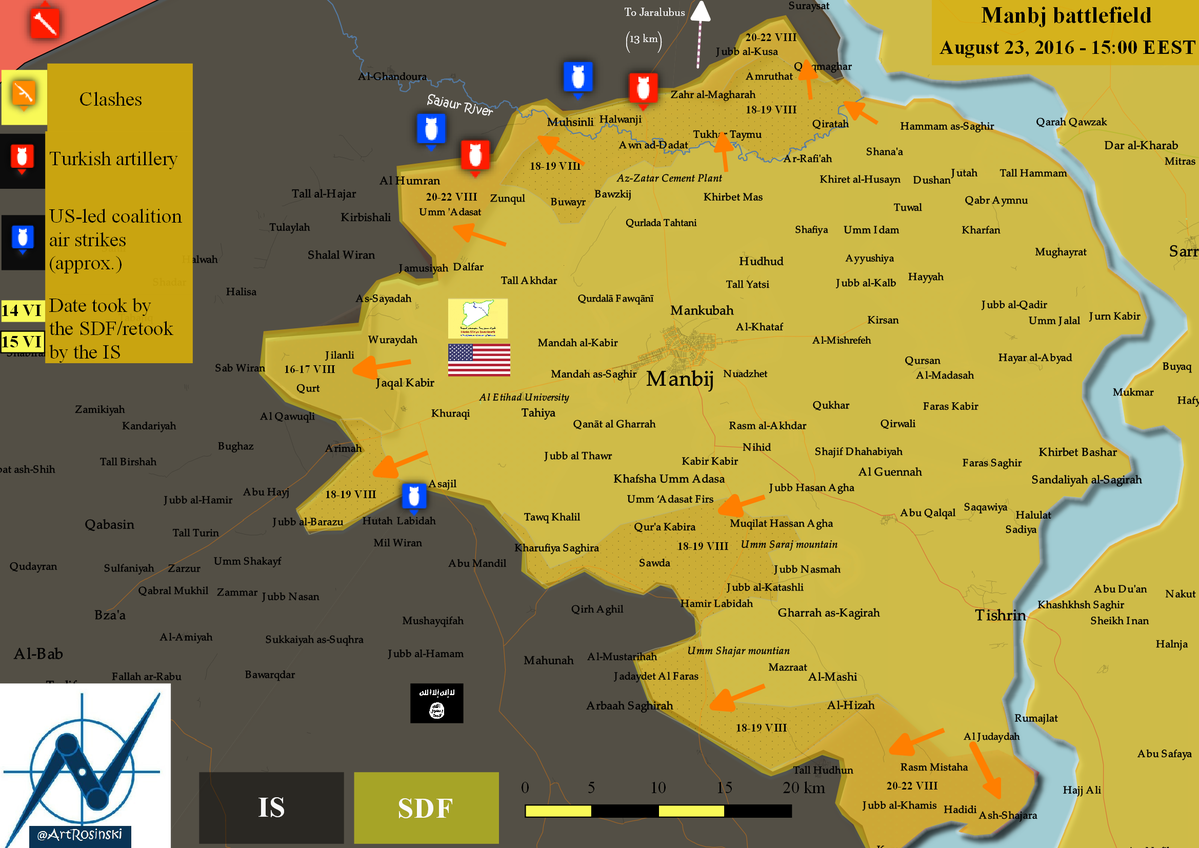 Military Situation in the Area of Manbij, Syria on August 23