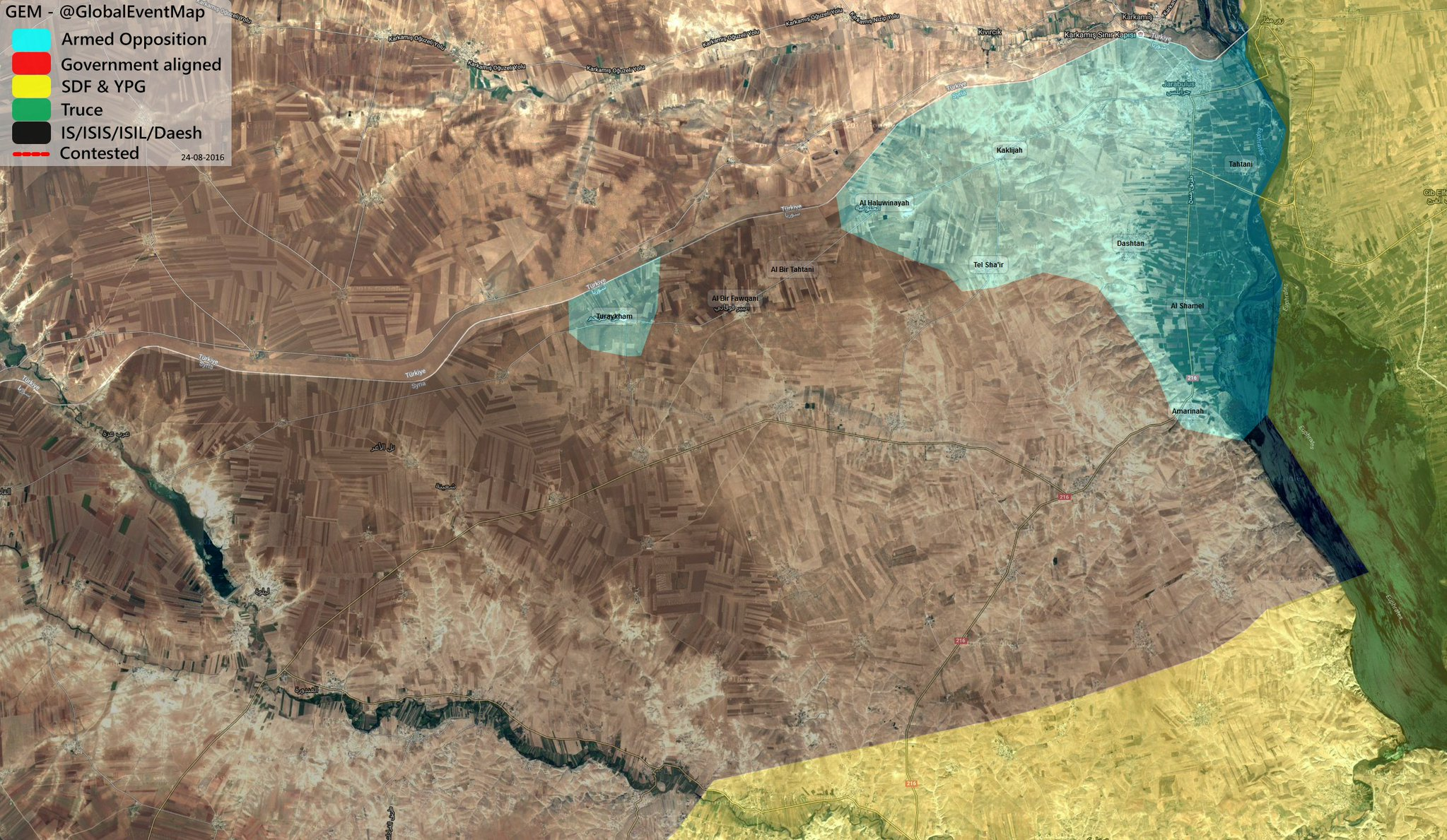 Turkish-backed Militants Take Control of Jarablus in Northern Syria. No Clashes with ISIS Reported