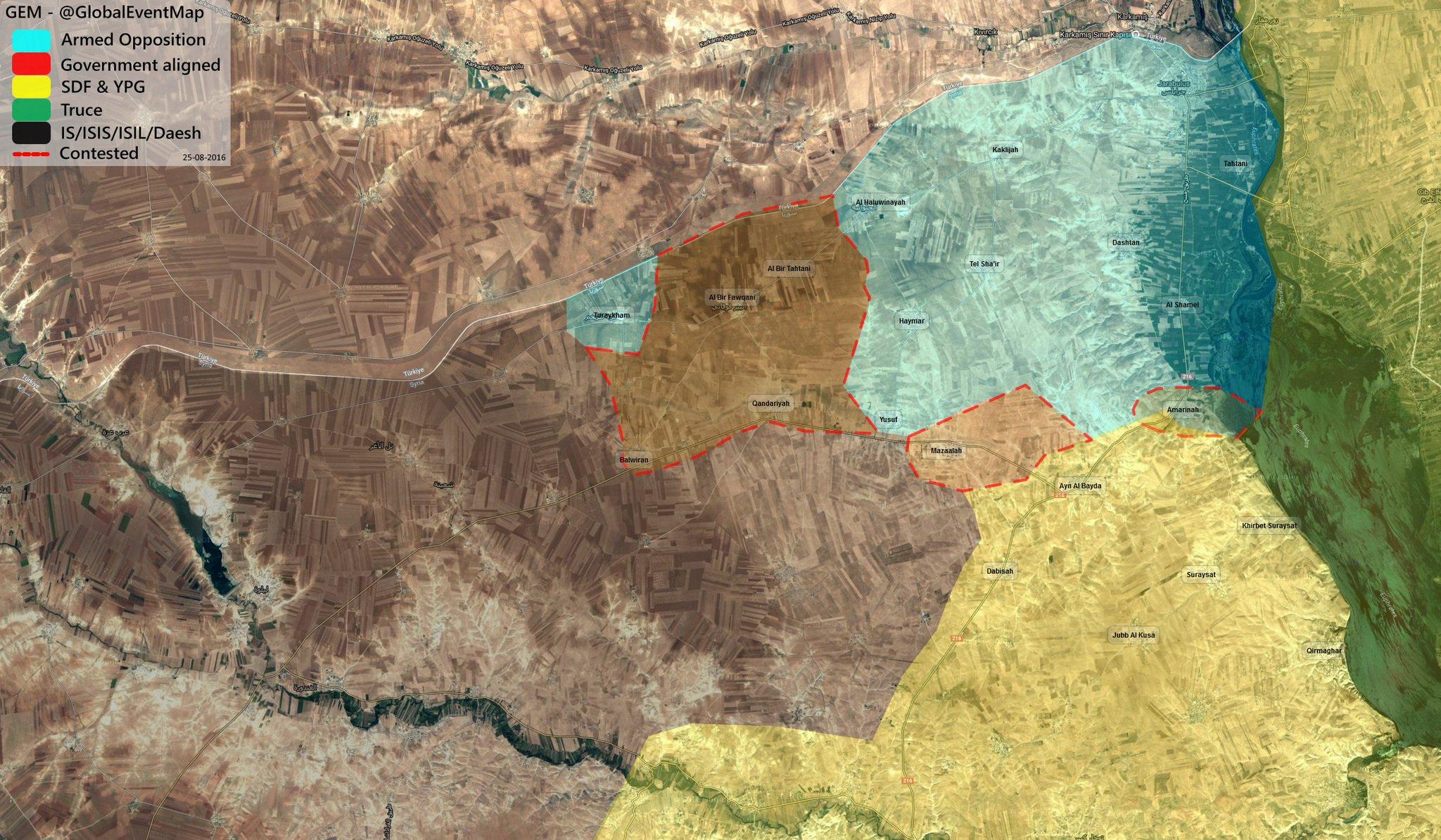 Turkish-led Forces Gain More Areas near Jarablus amid YPG Withdrawal from Area