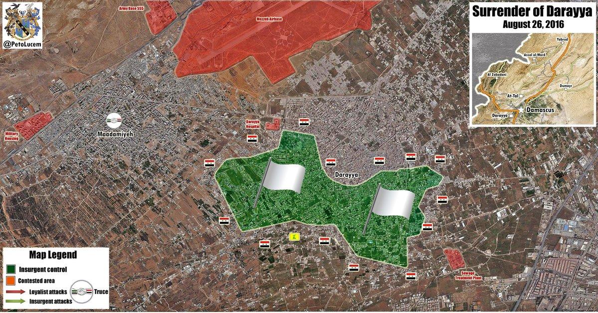 Militants Evacuate from Daraya, Transfer Control to Syrian Army