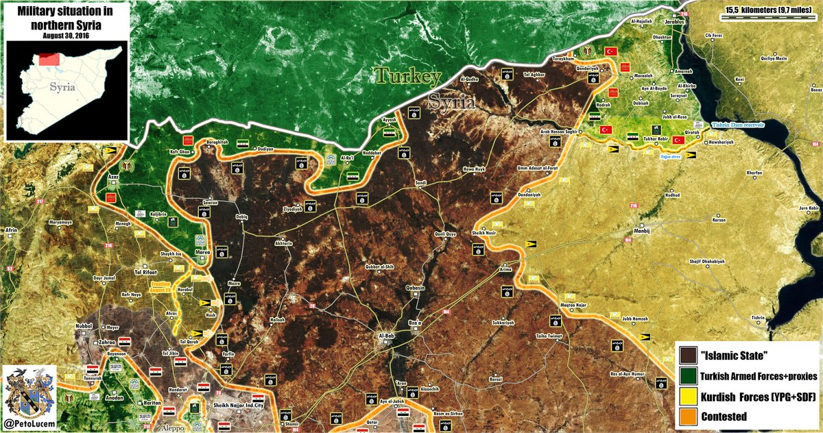 Map Update: Military Situation in Northern Syria on August 30, 2016