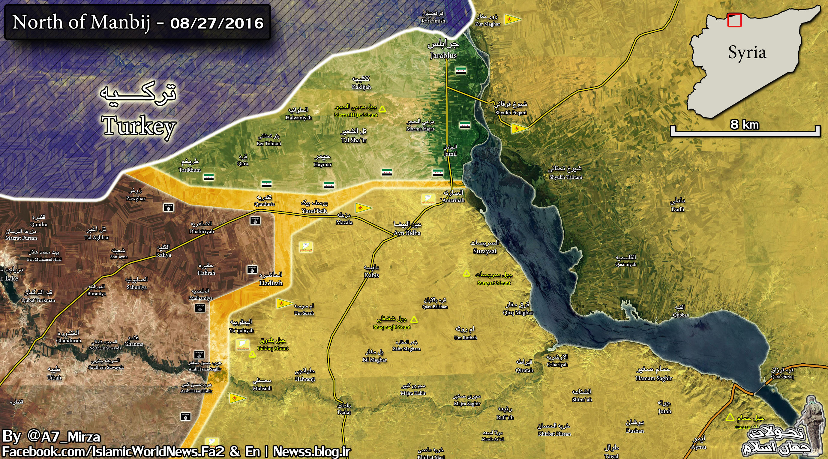 Map Update: Turkey-led Forces Engage SDF in Northern Syria. 1 Turkish Soldier Killed, 2 Wounded