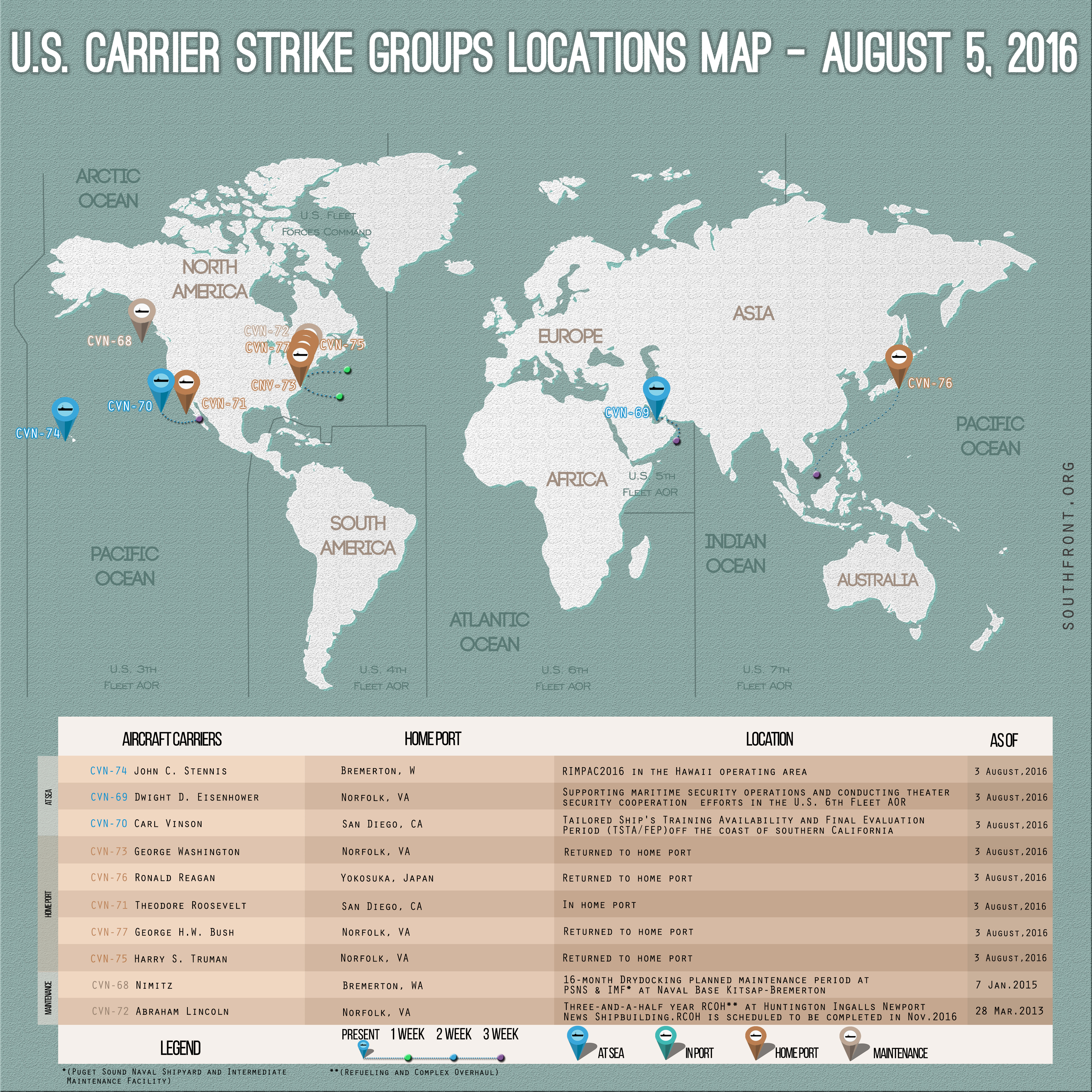 US Carrier Strike Groups Locations Map – August 5, 2016