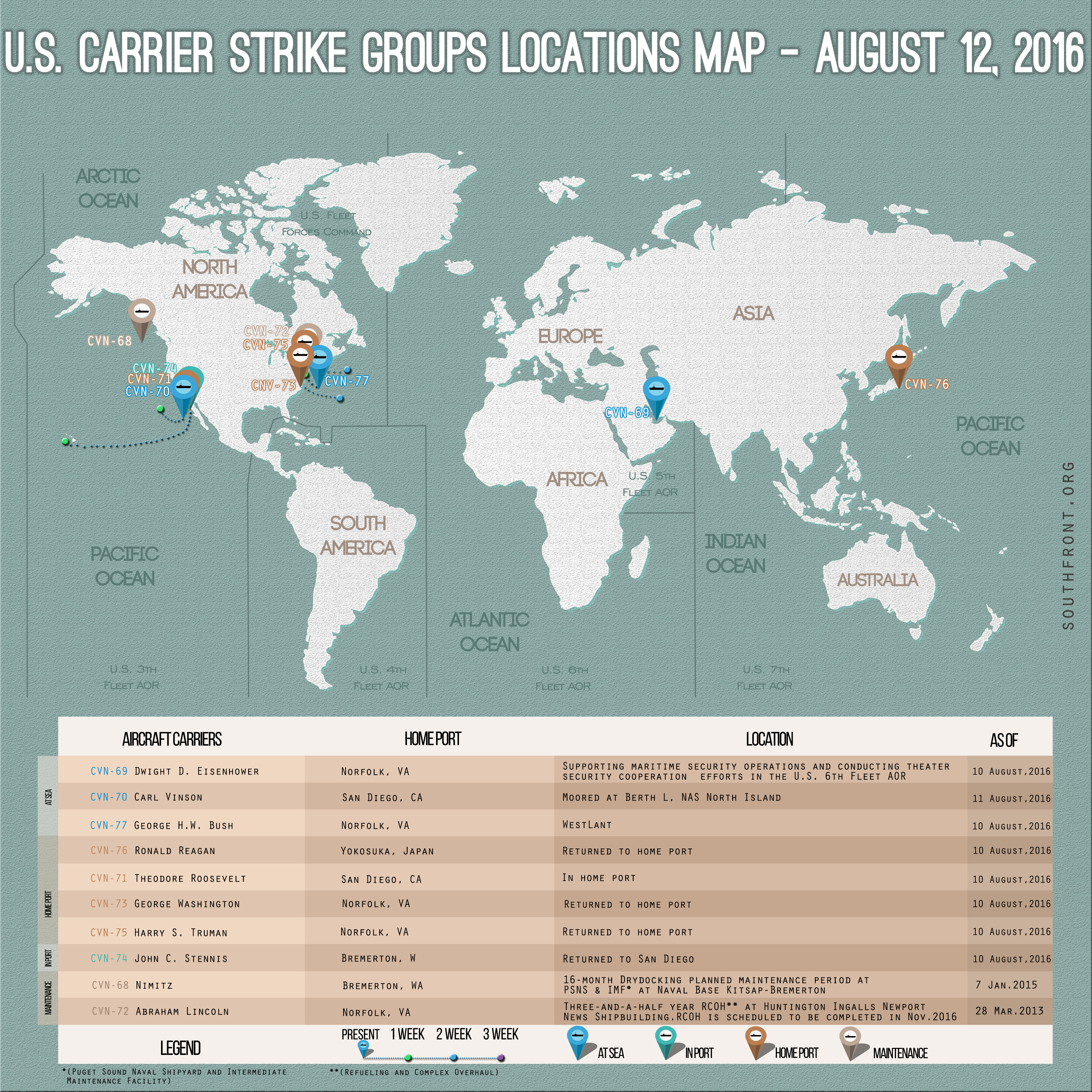 US Carrier Strike Groups Locations Map – August 12, 2016