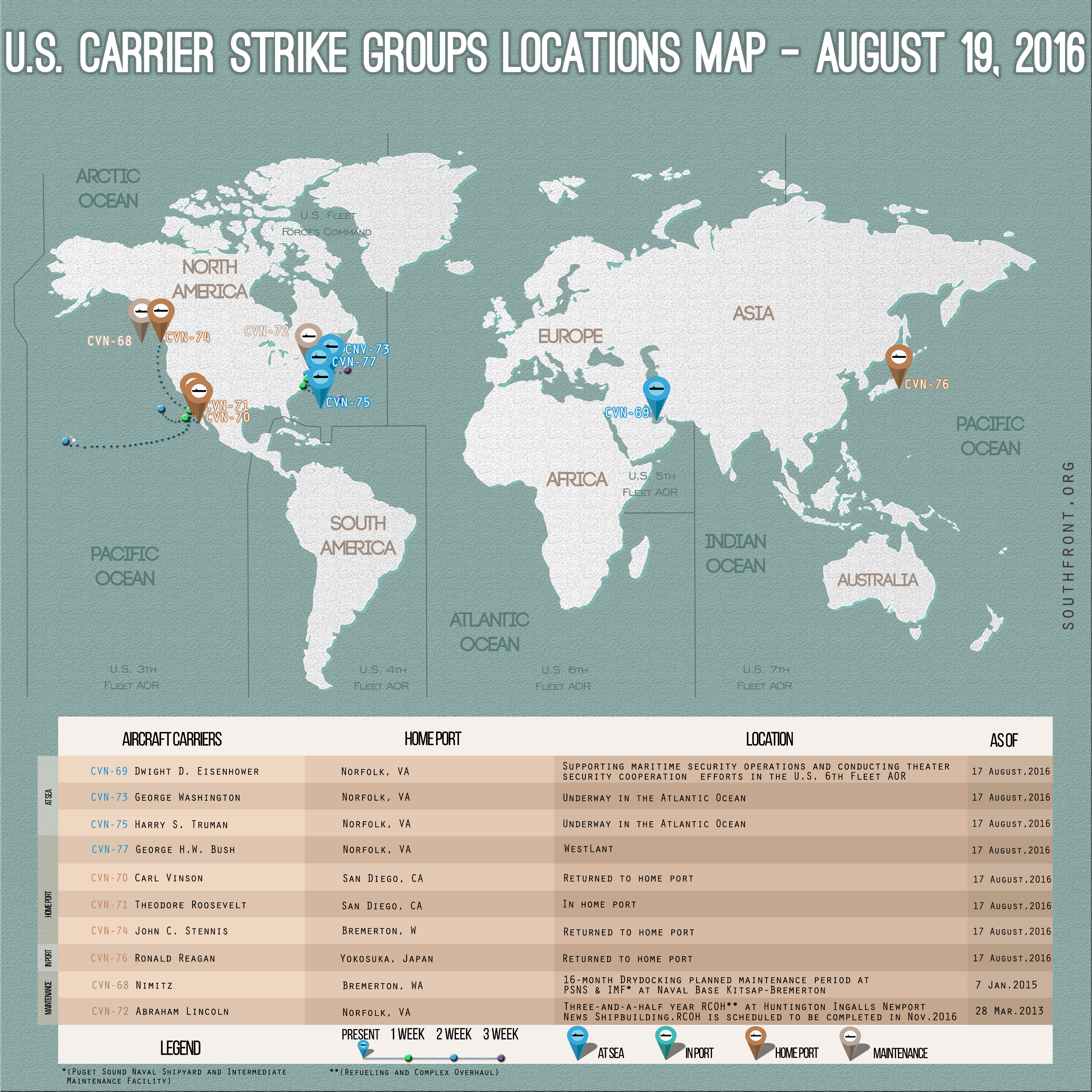 US Carrier Strike Groups Locations Map – August 19, 2016