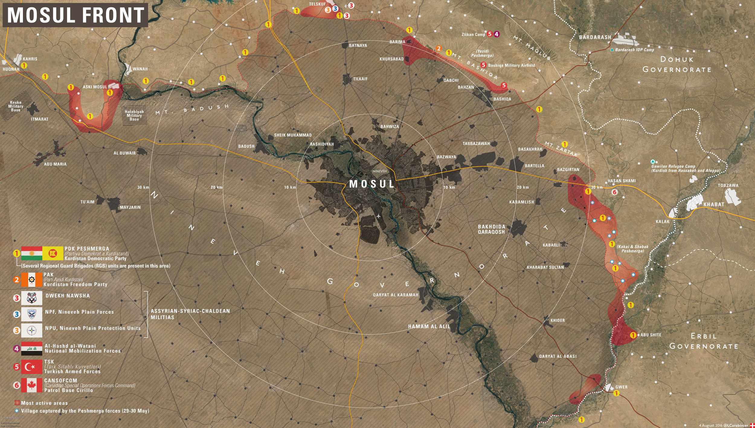 Military Situation in the Area of Mosul, Iraq on August 4, 2016
