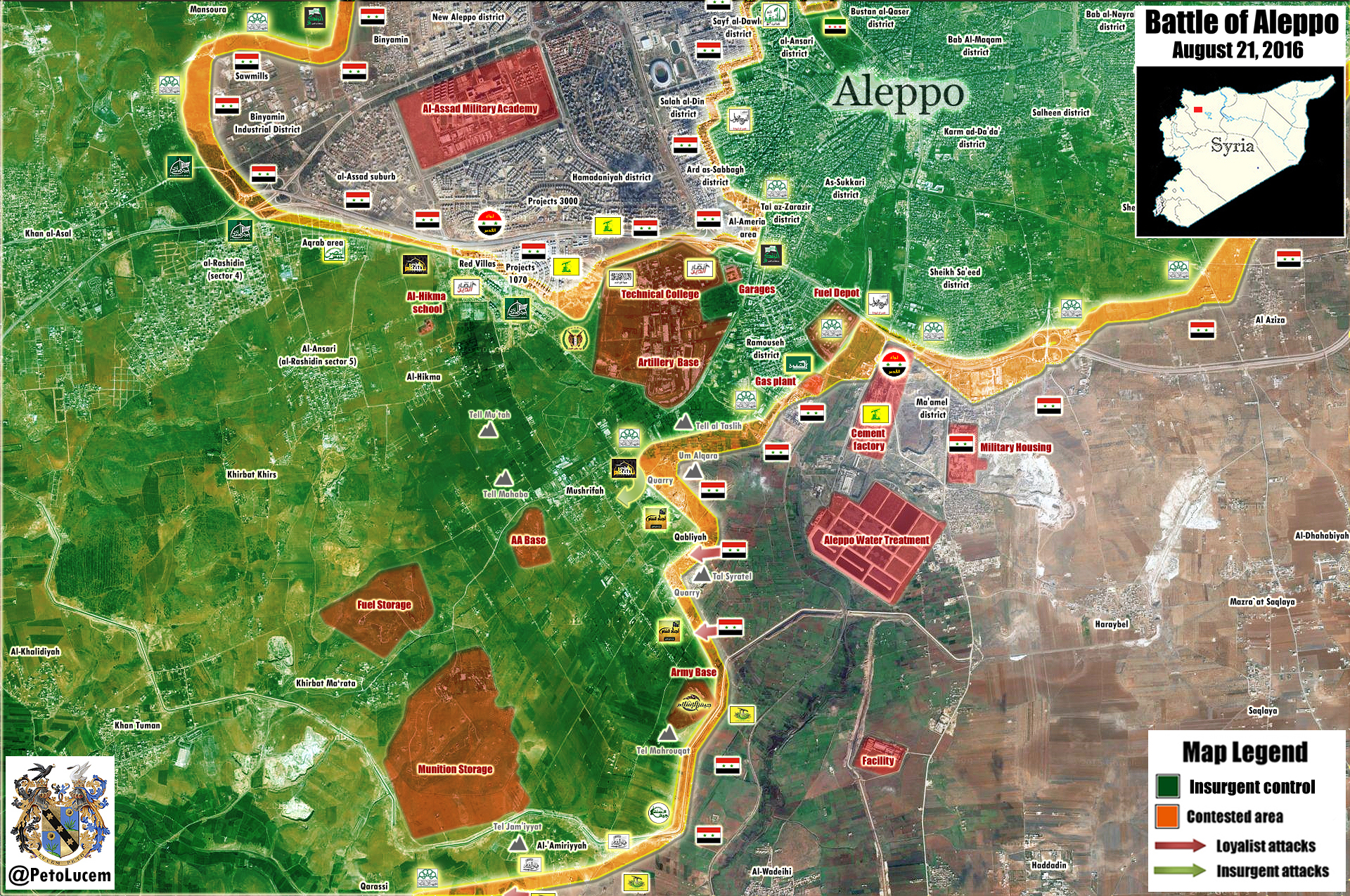 Overview of Military Situation in Aleppo CIty on August 21