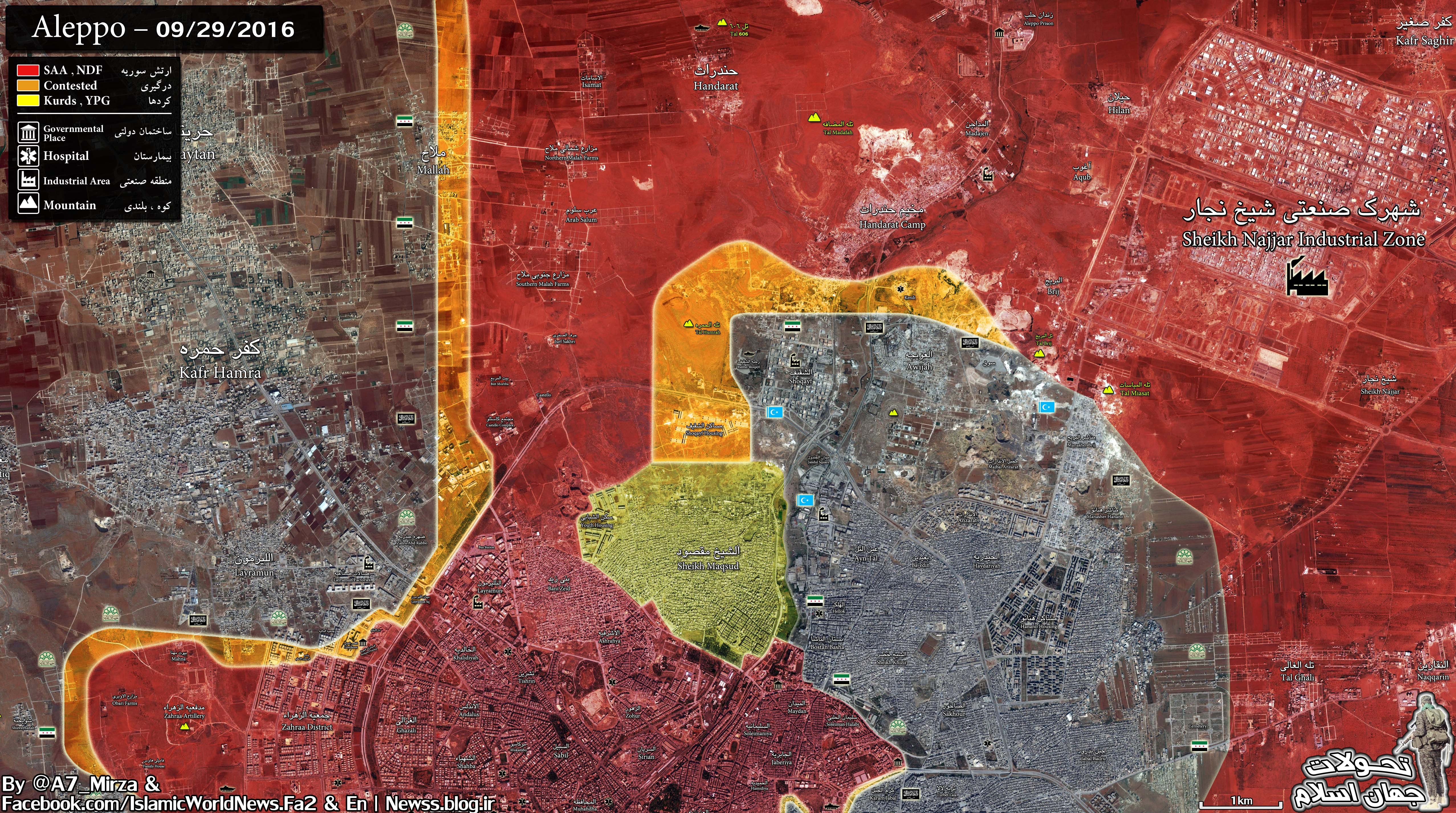 Overview of Military Situation in Aleppo City on September 30