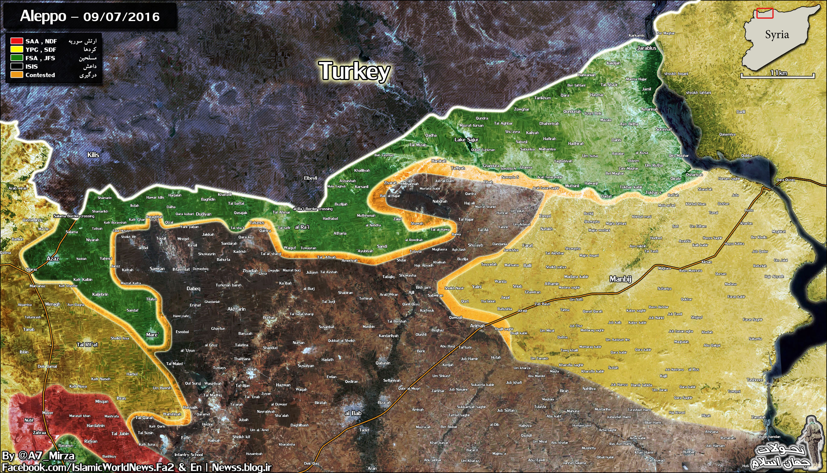 Military Situation in Northern Aleppo, Syria on September 7