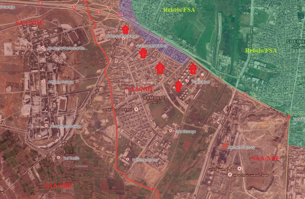 Syrian Army Takes Control of Ramouseh Neighborhood, Reopens Supply Road to Western Aleppo