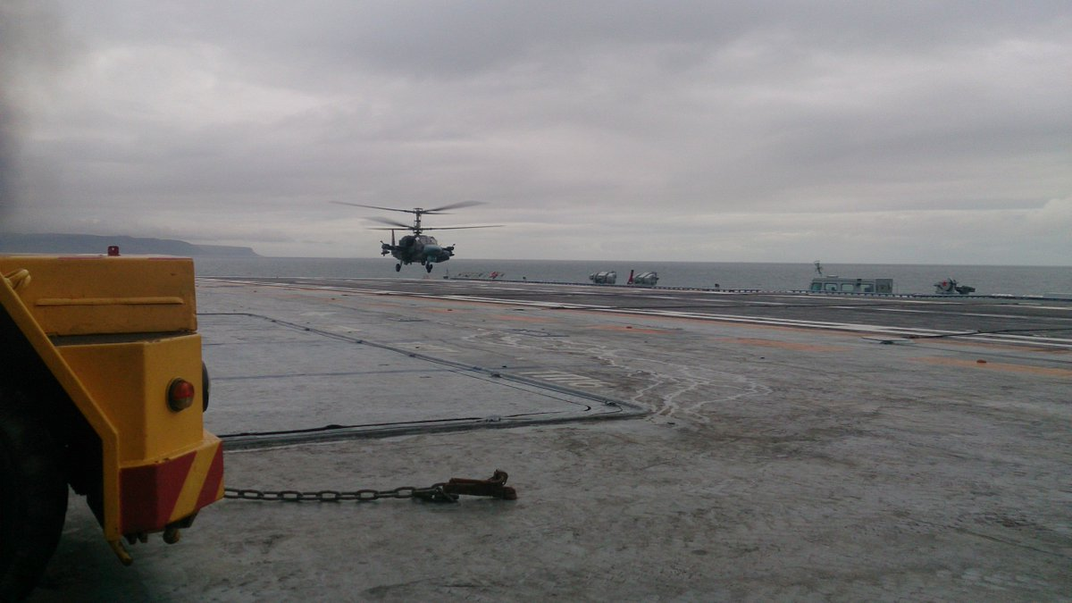 Tests of Ka-52K Helicopter on Russian Aircraft Carrier (Photos)