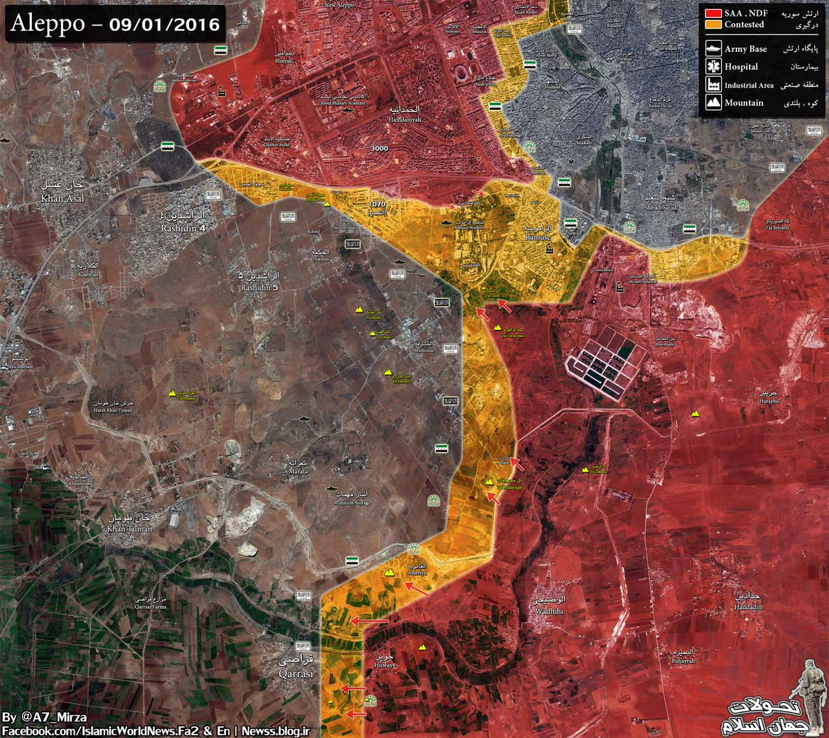 Overview of Military Situation in Aleppo City on September 1, 2016