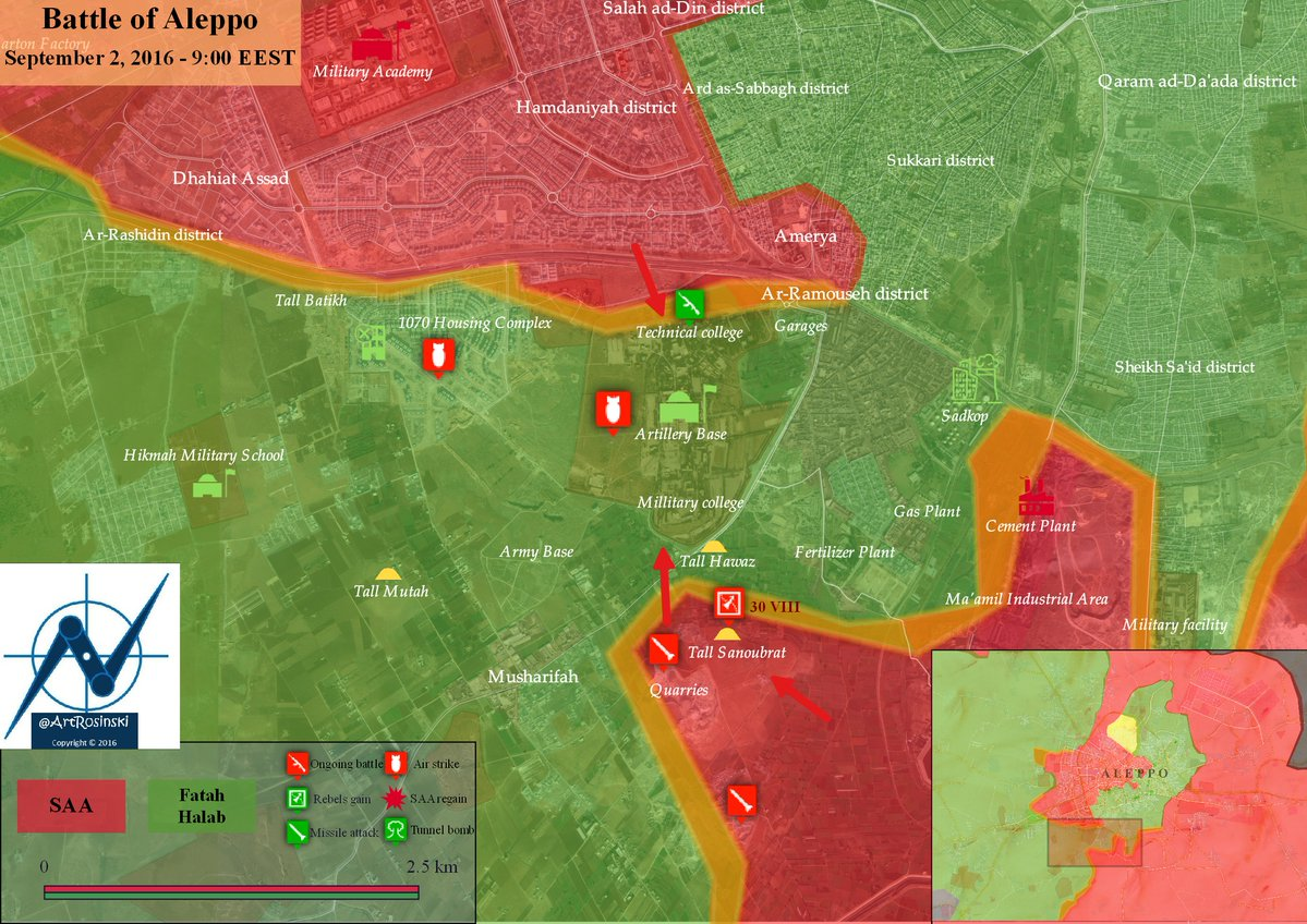 Syrian Army Advancing on Artillery Base in Southwestern Aleppo from 2 Directions