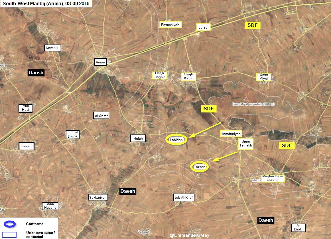 Kurdish YPG Seizes 2 Villages from ISIS Southwest of Manbij