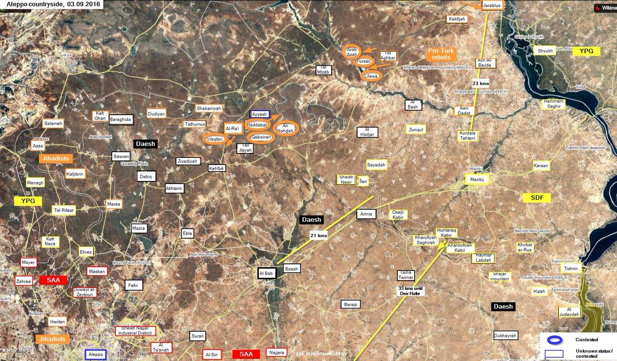 Turkish-backed Militants Advancing near Al Rai in Northern Syria