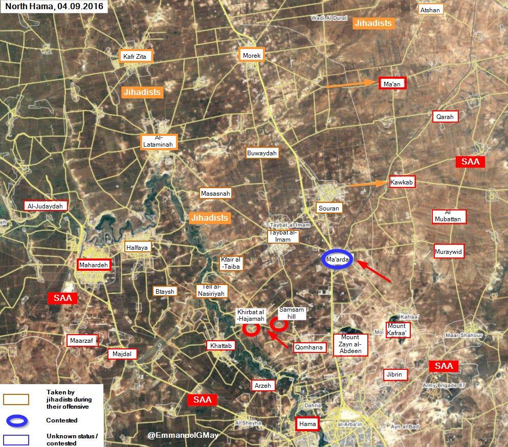 Pro-Government Forces Retake Khirbat al-Hajamah and Samsam hill in Hama Province