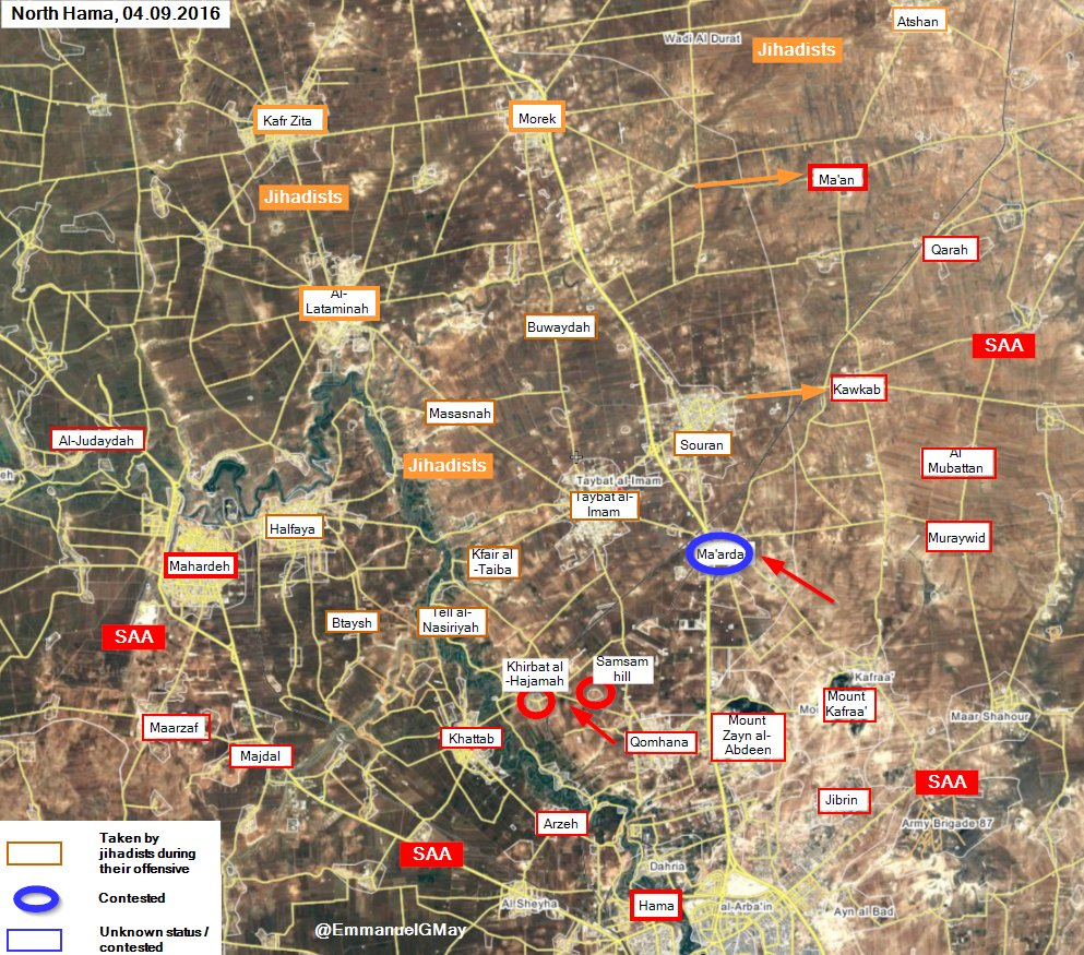Pro-Government Forces Retake Khirbat al-Hajamah and Samsam hill in Hama Province