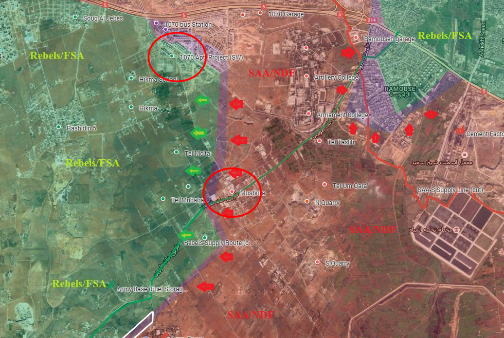 Terrorists Retreating from Mushrifah and Northern Part of 1070 Apartment Project in Aleppo