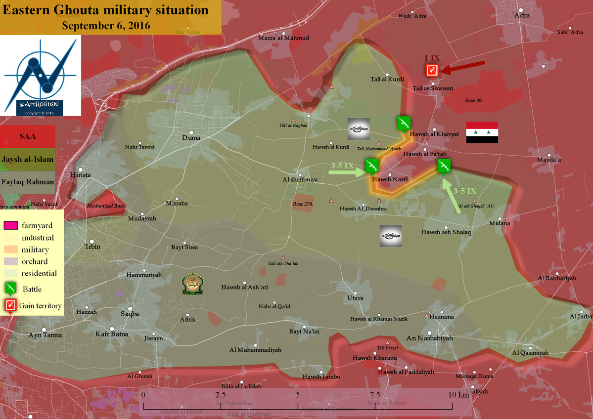 Military Situation in Damascus' Eastern Ghouta on September 6
