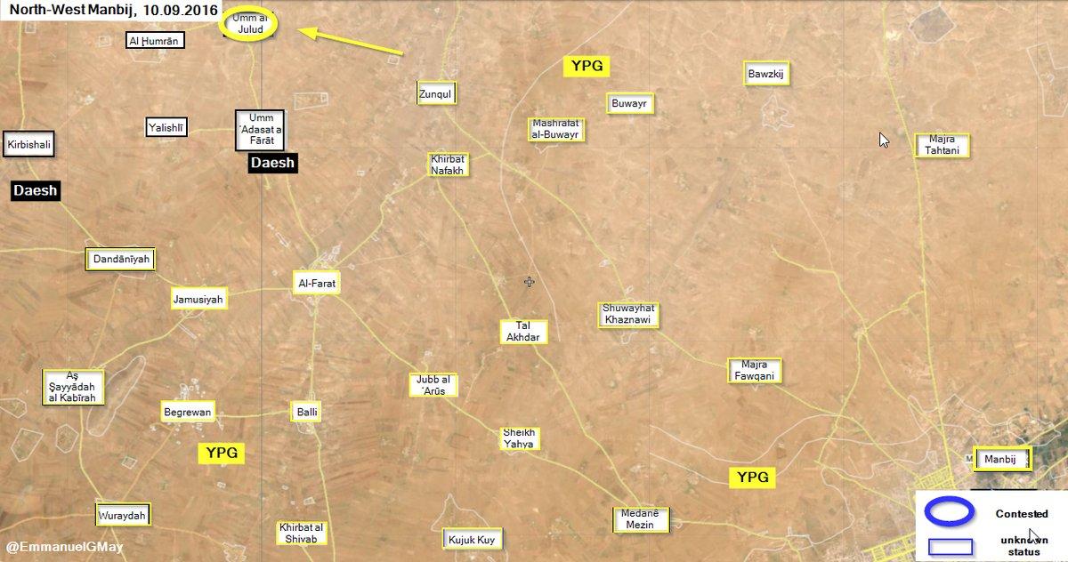 Kurdish YPG Seizes Umm Al Julud from ISIS Northwest of Manbij
