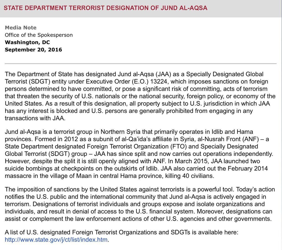 US Designates Jund al-Aqsa (Best friend of 'Moderate Opposition' in Hama Province) as Terrorist Entity